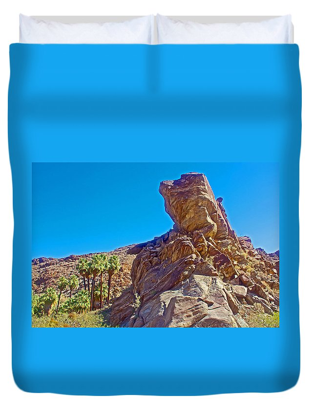 Rock Formation Higher Than Fan Palms Along Lower Palm Canyon Trail In Indian Canyons Near Palm Springs Duvet Cover featuring the photograph Rock Formation Higher Than Fan Palms Along Lower Palm Canyon Trail In Indian Canyons Near Palm Sprin by Ruth Hager