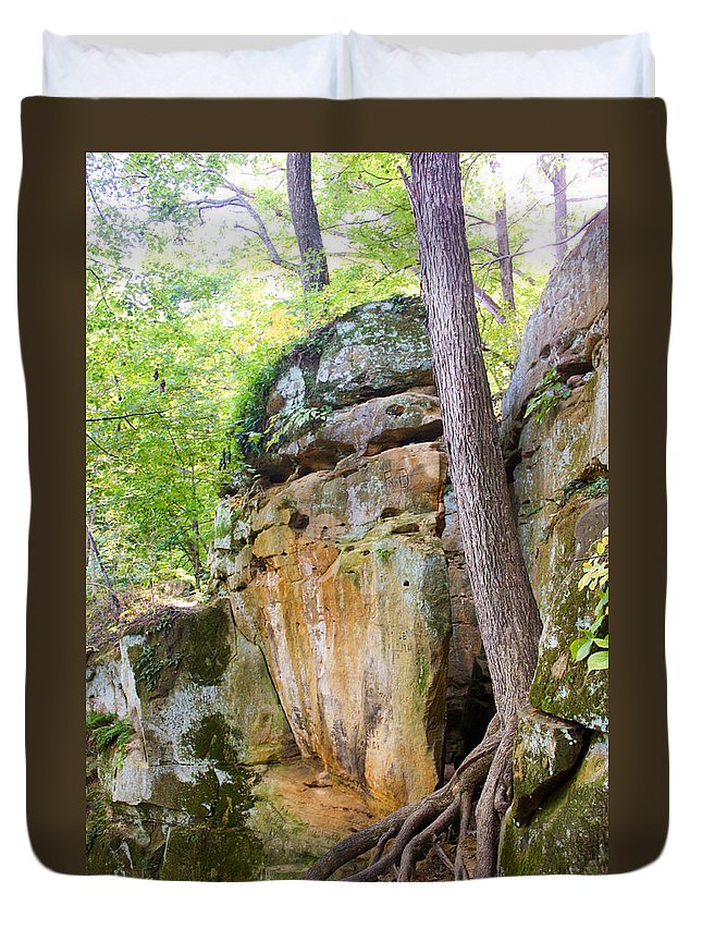 Rocky Cliff Wildcat Den Muscatine Ia Duvet Cover featuring the photograph Rock Formation Wildcat Den State Park by Cynthia Woods