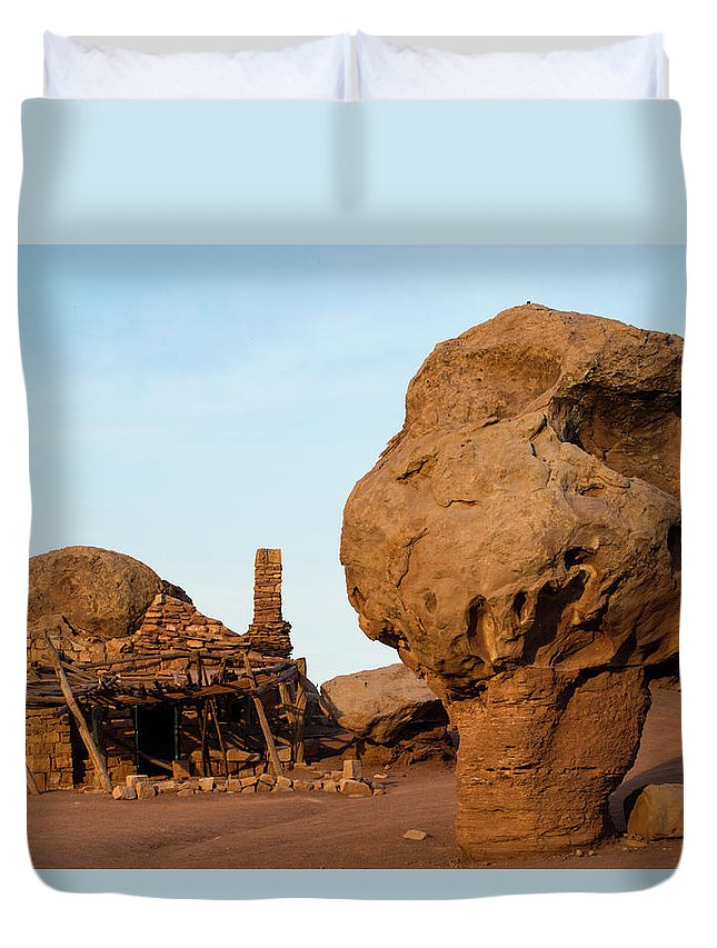 Photography Duvet Cover featuring the photograph Rock Formations And Abandoned Building by Panoramic Images