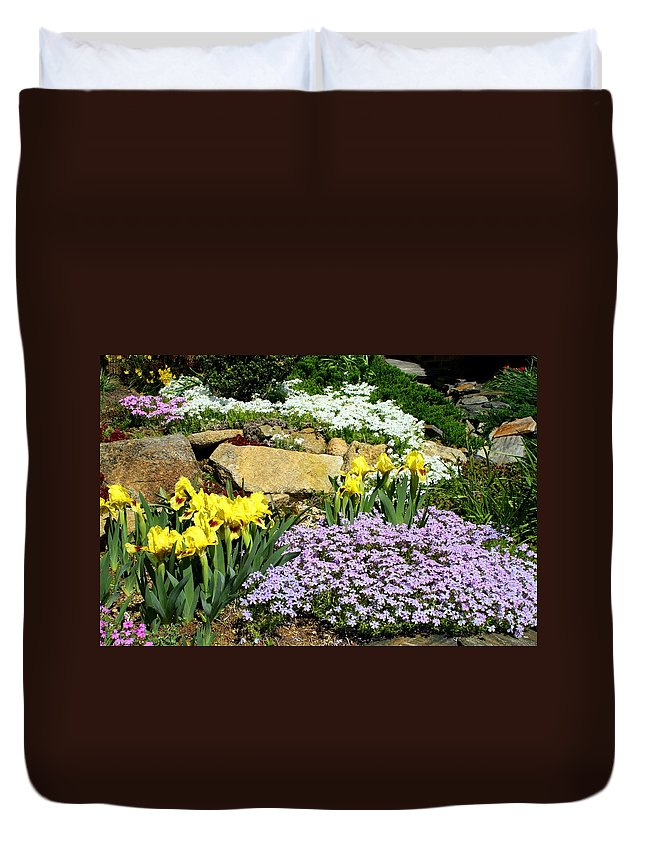 Flower Duvet Cover featuring the photograph Rock Garden Flowers by Kathryn Meyer
