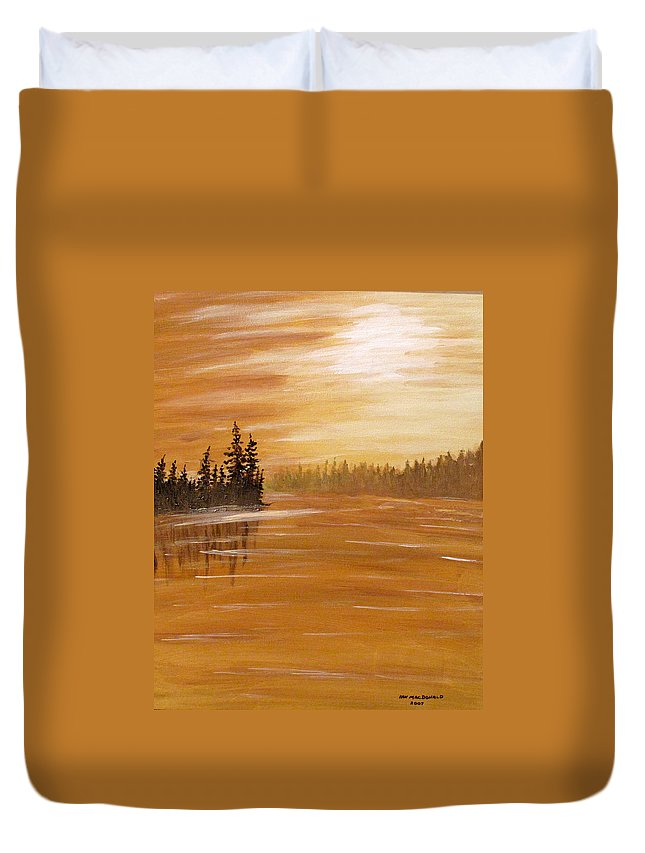 Northern Ontario Duvet Cover featuring the painting Rock Lake Morning 1 by Ian MacDonald