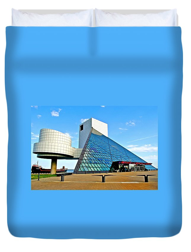 Rock Duvet Cover featuring the photograph Rock n Roll Hall of Fame by Frozen in Time Fine Art Photography