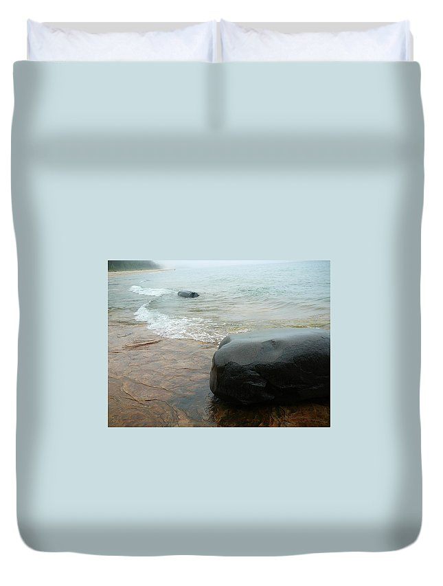 Upper Peninsula Duvet Cover featuring the photograph Rock On Rock by Two Bridges North