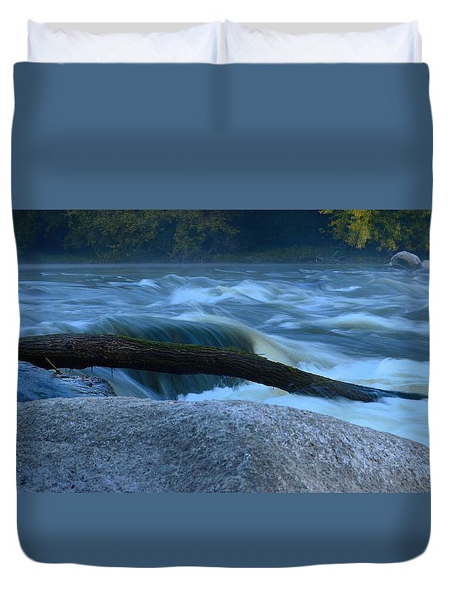 Rapids Duvet Cover featuring the photograph Rock Rapids Two by Bonfire Photography