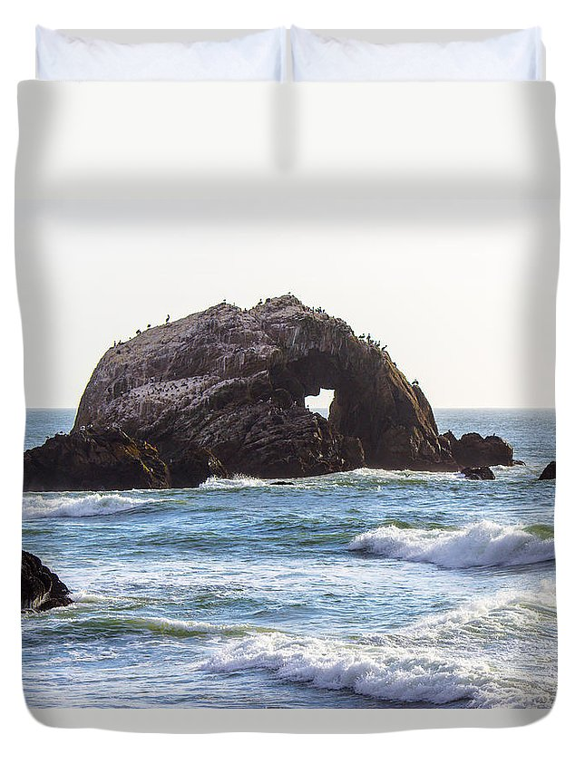 Ocean Duvet Cover featuring the photograph Heart Rock Near San Francisco Ca Cliff House by G Matthew Laughton