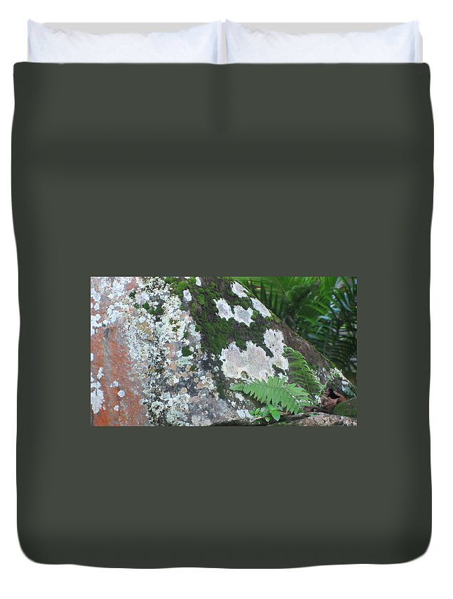 Rocks Duvet Cover featuring the photograph Rock With Moss by Anita Burgermeister
