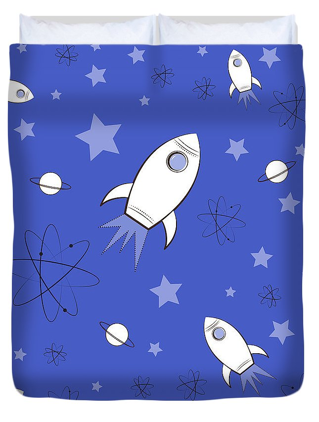Rocket Duvet Cover featuring the digital art Rocket Science Dark Blue by Amy Kirkpatrick