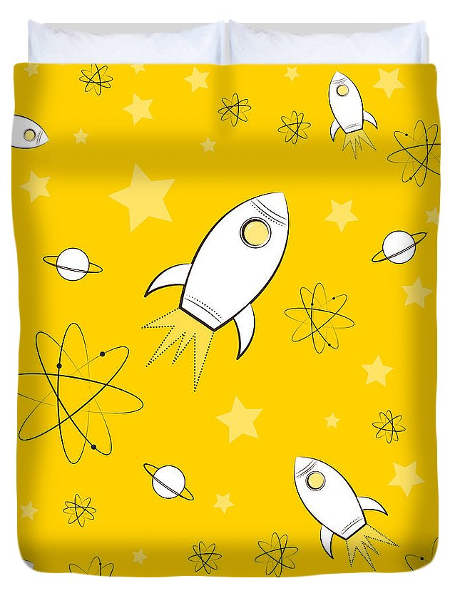 Rocket Duvet Cover featuring the painting Rocket Science Yellow by Amy Kirkpatrick