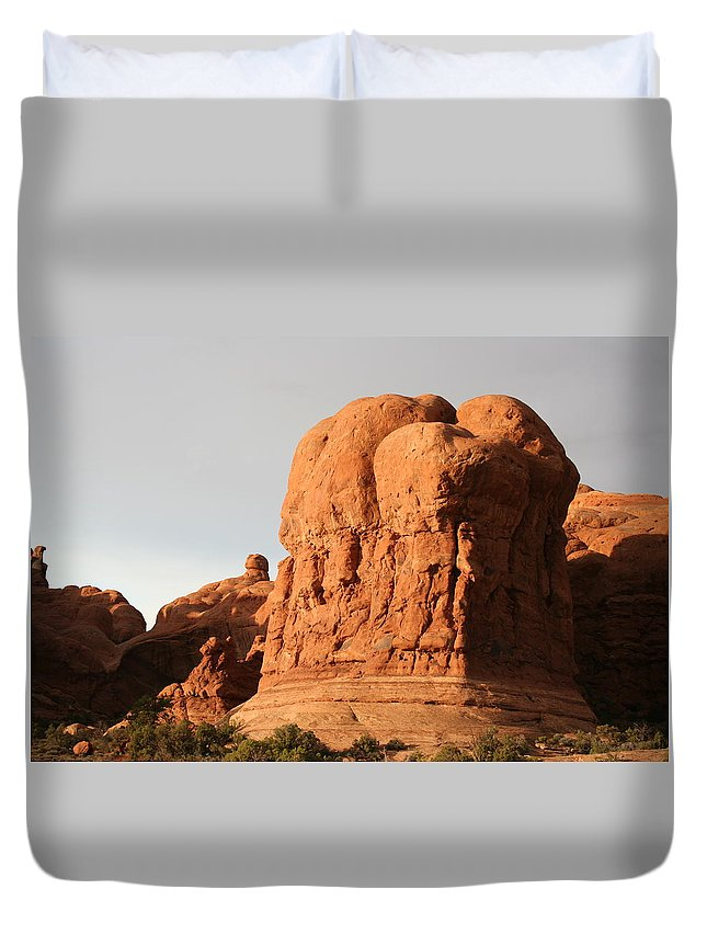 Rocks Duvet Cover featuring the photograph Rockformation Arches Park by Christiane Schulze Art And Photography