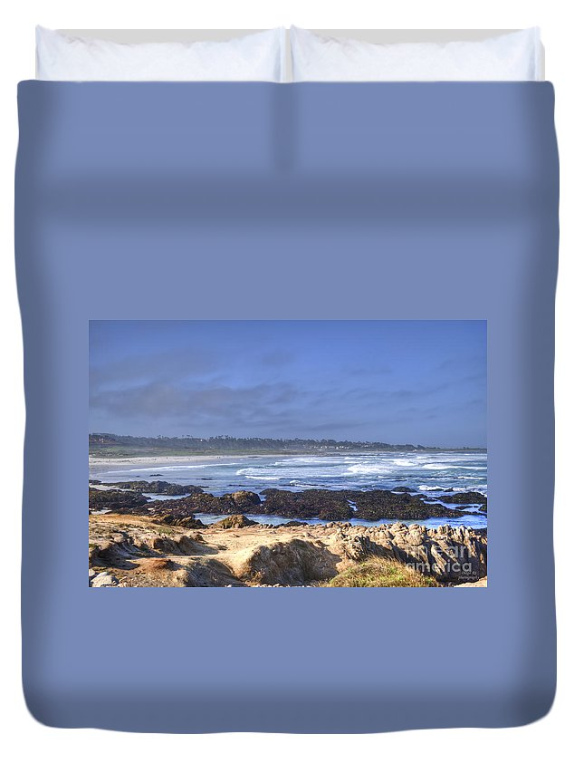 Seascape Photographs Duvet Cover featuring the photograph Rocks Before Beach by Diego Re