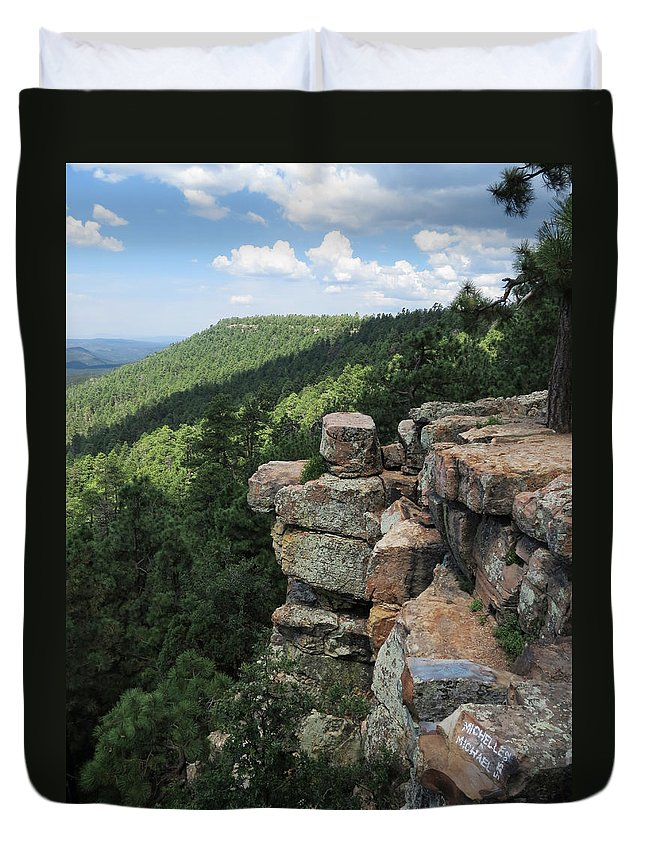 Mogollon Rim Duvet Cover featuring the photograph Rocks On The Rim by Laurel Powell
