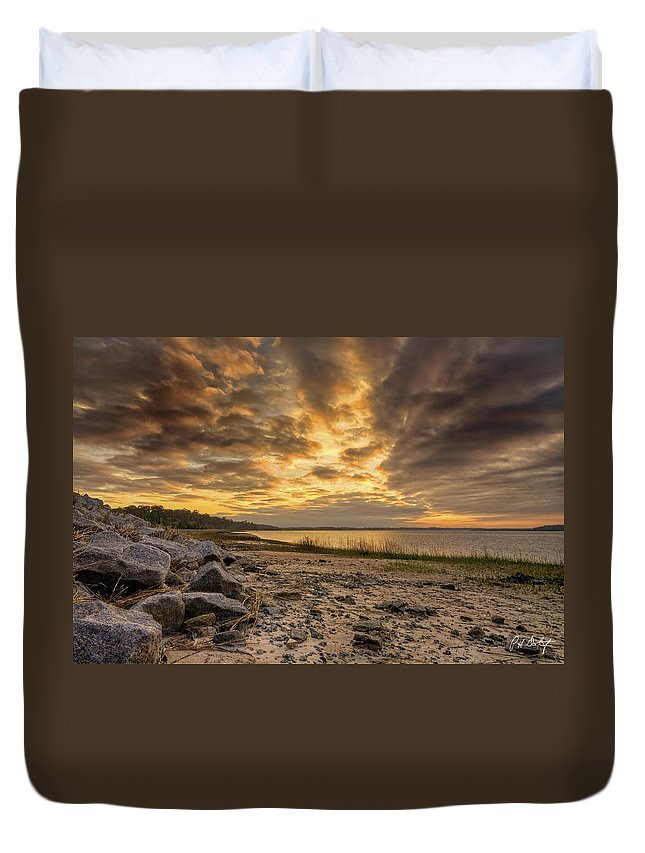 Beach Duvet Cover featuring the photograph Rocky Beach by Phill Doherty
