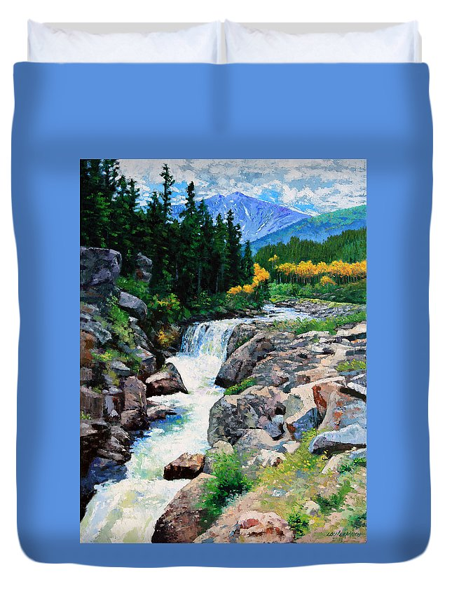 Rocky Mountains Duvet Cover featuring the painting Rocky Mountain High by John Lautermilch