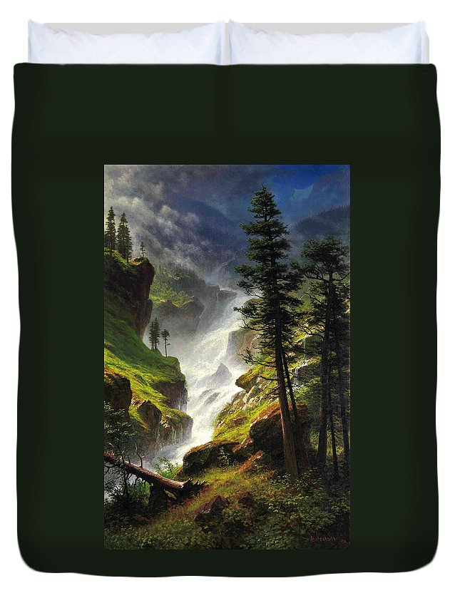 Albert Bierstadt Duvet Cover featuring the painting Rocky Mountain Waterfall by Albert Bierstadt