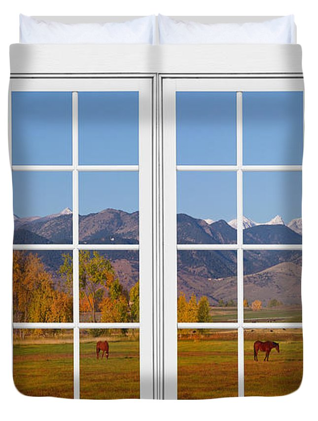 Windows Duvet Cover featuring the photograph Rocky Mountains Horses White Window Frame View by James BO Insogna