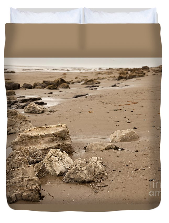 rocky Shore Duvet Cover featuring the photograph Rocky Shore by Amanda Barcon
