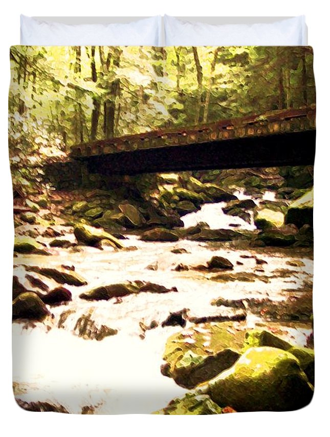 Stream Duvet Cover featuring the photograph Rocky Stream With Bridge by Desiree Paquette