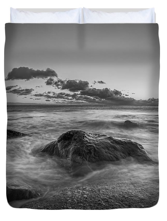 Michael Ver Sprill Duvet Cover featuring the photograph Rocky Sunrise Bw by Michael Ver Sprill