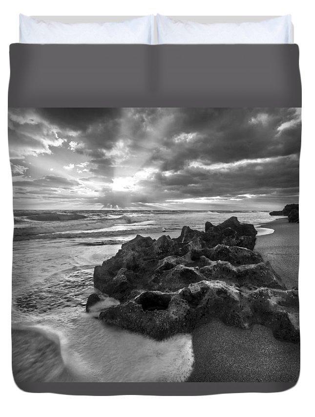 Clouds Duvet Cover featuring the photograph Rocky Surf In Black And White by Debra and Dave Vanderlaan