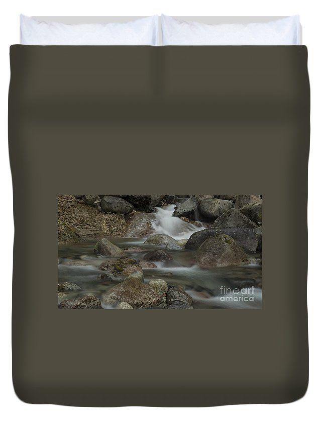 Waterfalls Duvet Cover featuring the photograph Rocky Waters by Rod Wiens