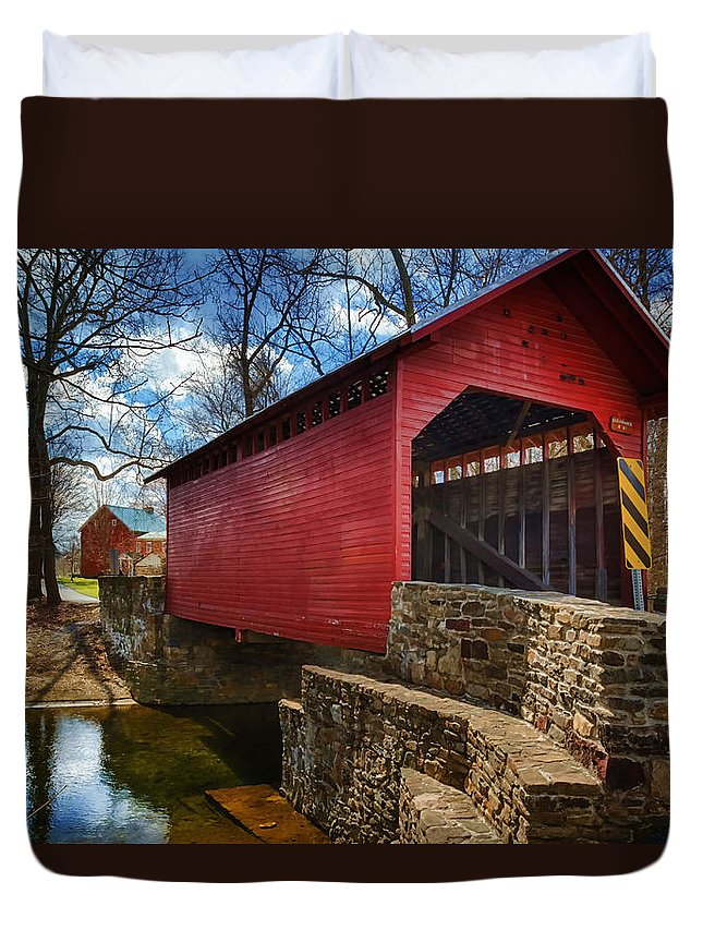 Joan Carroll Duvet Cover featuring the photograph Roddy Road Covered Bridge by Joan Carroll