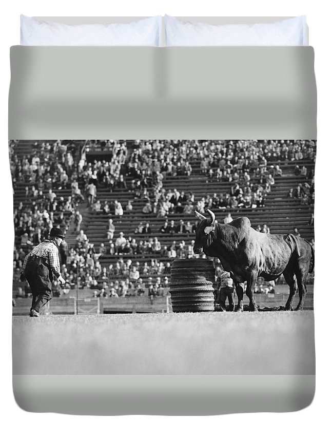 1920s Duvet Cover featuring the photograph Rodeo Clown Watches Bull by Otto Rothschild