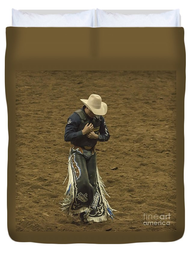 Rodeo Duvet Cover featuring the photograph Rodeo Cowboy Dusting Off by Janice Pariza