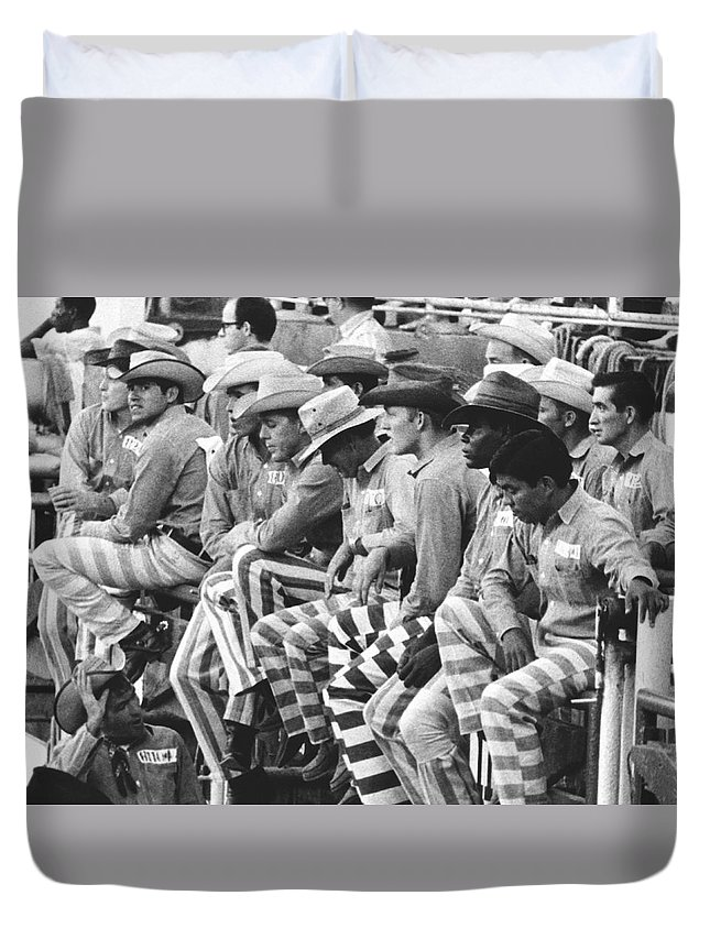 1960s Duvet Cover featuring the photograph Rodeo Cowboy Prisoners by Underwood Archives