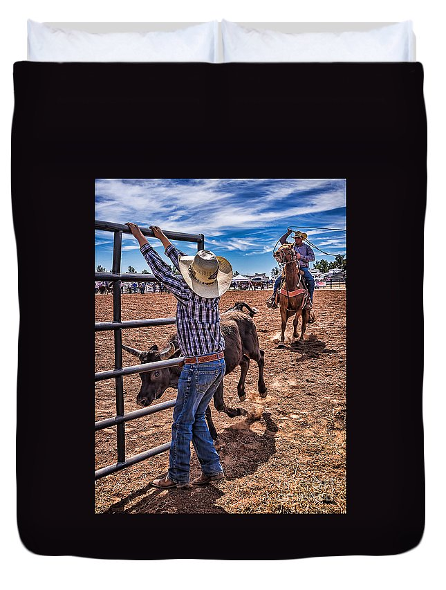 Rodeo Gate Keeper Duvet Cover featuring the photograph Rodeo Gate Keeper by Priscilla Burgers
