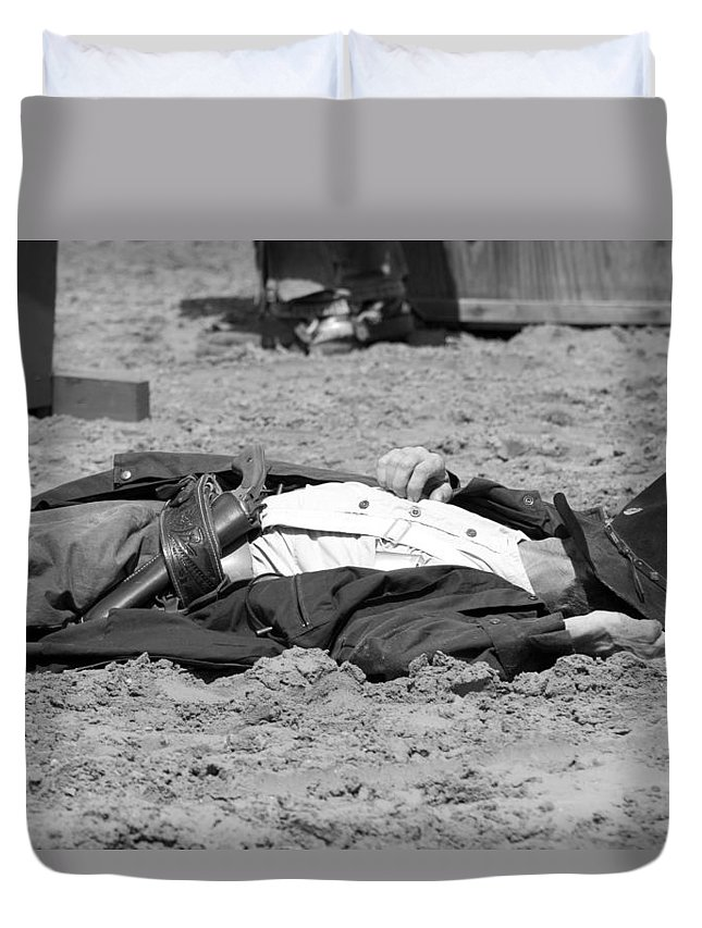 Rodeo Duvet Cover featuring the photograph Rodeo Gunslinger Victim Bw by Sally Rockefeller