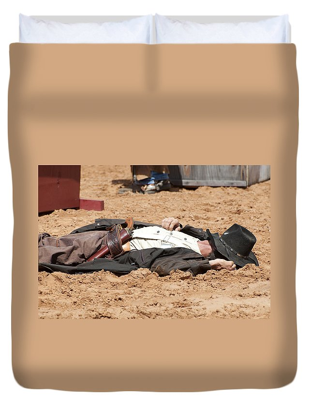 Rodeo Duvet Cover featuring the photograph Rodeo Gunslinger Victim Color by Sally Rockefeller