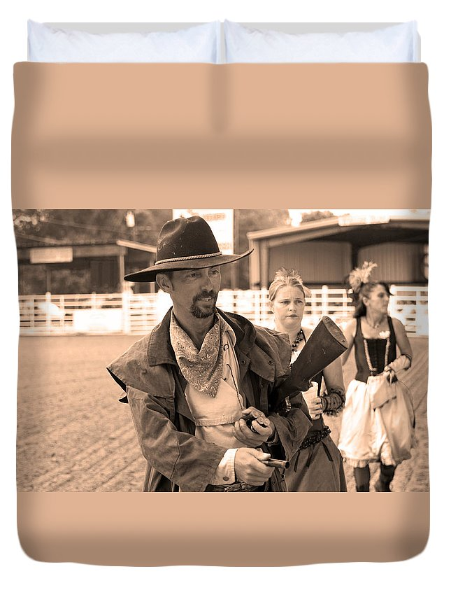 Rodeo Duvet Cover featuring the photograph Rodeo Gunslinger With Saloon Girls Sepia by Sally Rockefeller