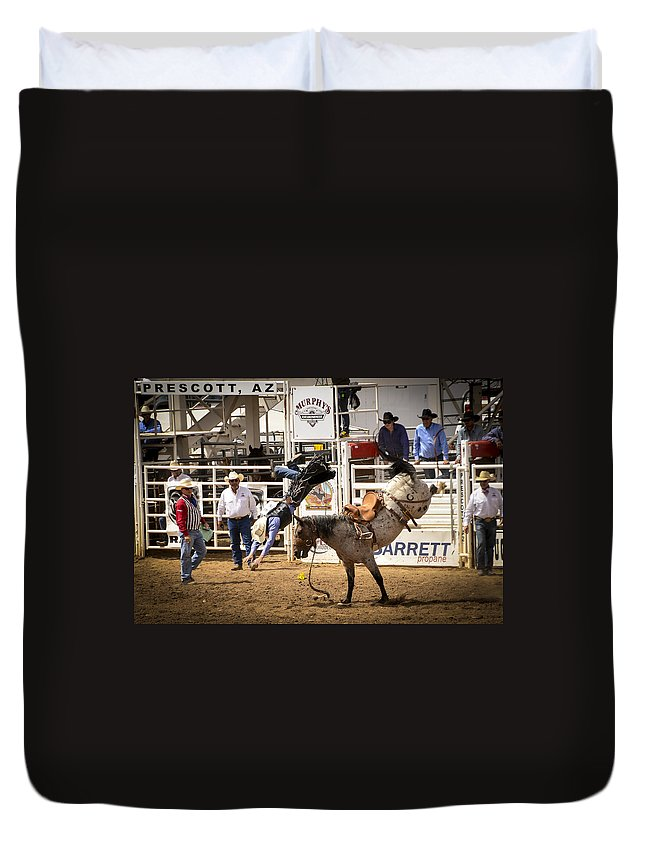 Rodeo Duvet Cover featuring the photograph Rodeo High Flyer by Jon Berghoff