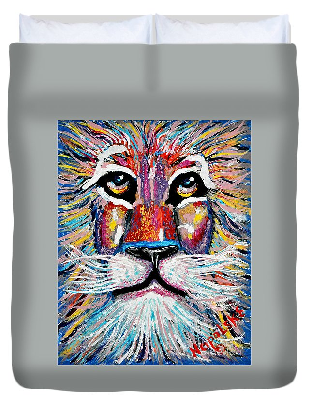 Abstract Lion Duvet Cover featuring the painting Rodney Abstract Lion by Barney Napolske