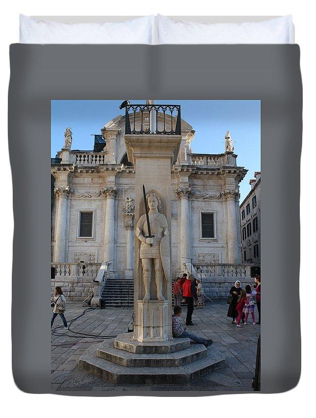Dubrovnik Duvet Cover featuring the photograph Roland's Column by David Nicholls