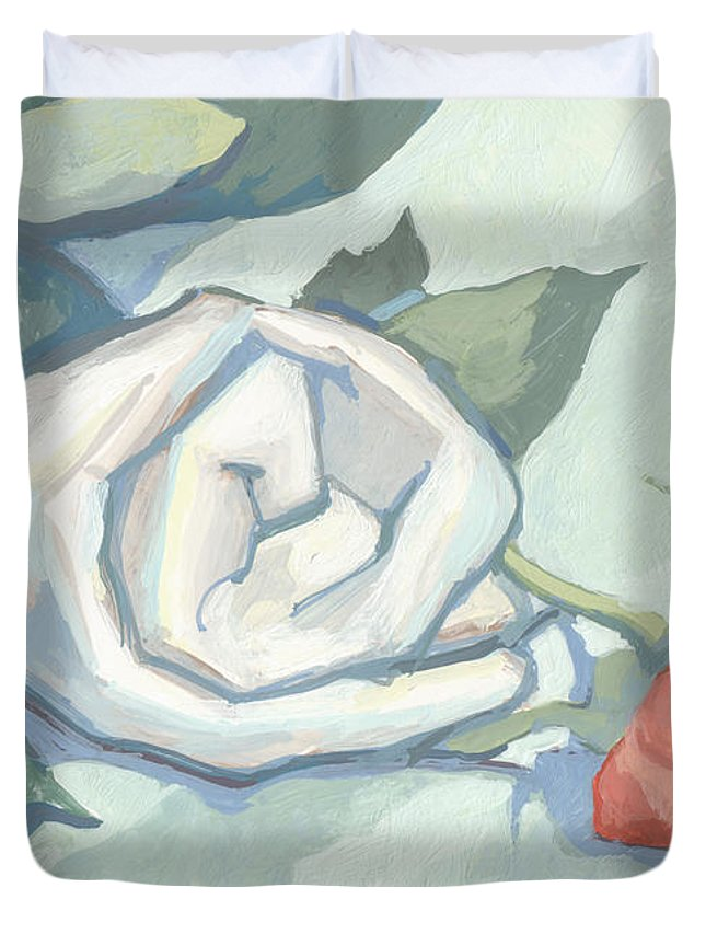 Roll Duvet Cover featuring the painting Rolled Up Rise And Cloth by Richard Glen Smith