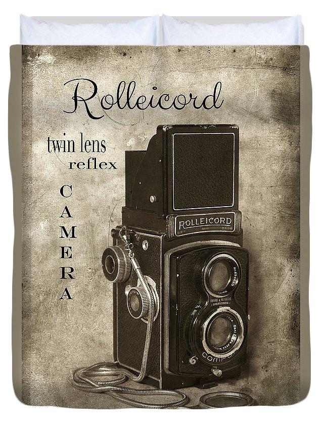 Camera Duvet Cover featuring the photograph Rollei by Jill Battaglia