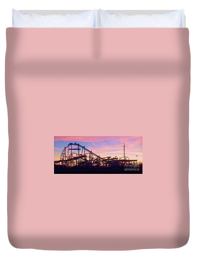 Roller Coaster Duvet Cover featuring the photograph Roller Coaster At The Nj Shore by Eric Schiabor