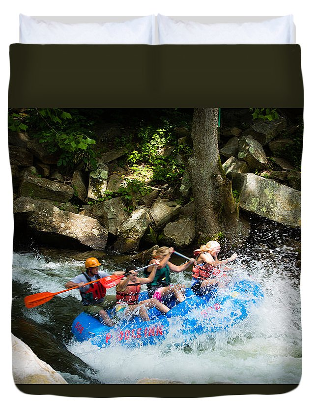Whitewater Rafting Duvet Cover featuring the photograph Roller Coaster Of Rafting by Christy Cox