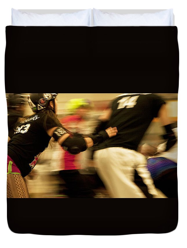 Sports Duvet Cover featuring the photograph Roller Derby by Theresa Tahara
