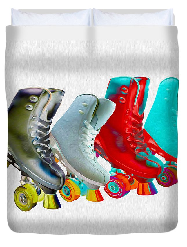 Skates Duvet Cover featuring the mixed media Roller Skates by P Donovan
