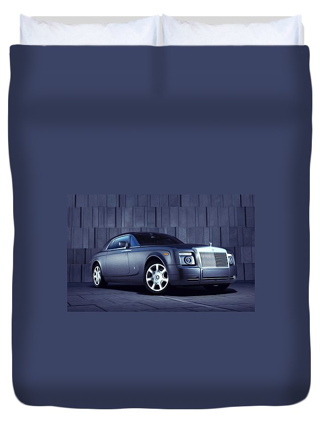 New Duvet Cover featuring the painting Rolls Royce 3 by Jeelan Clark