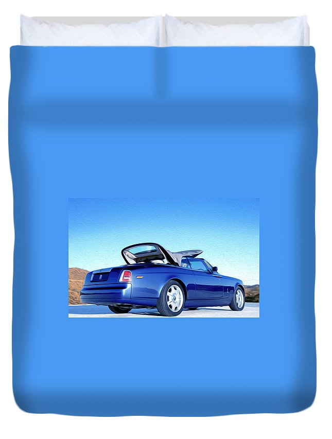 New Duvet Cover featuring the painting Rolls Royce 6 by Jeelan Clark