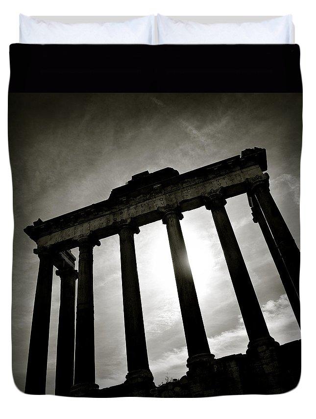 Roman Forum Duvet Cover featuring the photograph Roman Forum by Dave Bowman