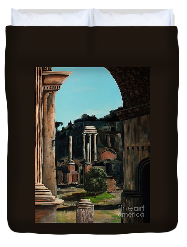 Rome Duvet Cover featuring the painting Roman Forum by Nancy Bradley