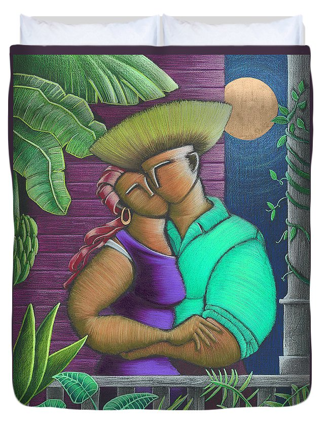 Puerto Rico Duvet Cover featuring the painting Romance Jibaro by Oscar Ortiz