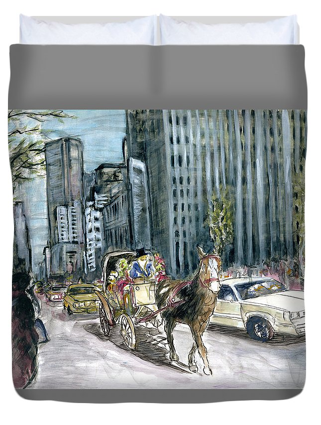 New+york Duvet Cover featuring the painting New York 5th Avenue Ride - Fine Art by Peter Potter