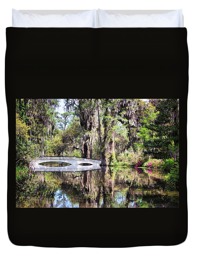 Water Duvet Cover featuring the photograph Romantic Garden by Lynne Jenkins