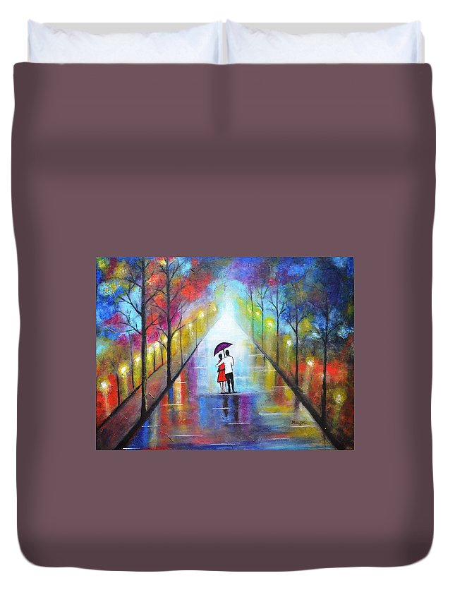 Romance Duvet Cover featuring the painting Romantic Interlude by Manjiri Kanvinde