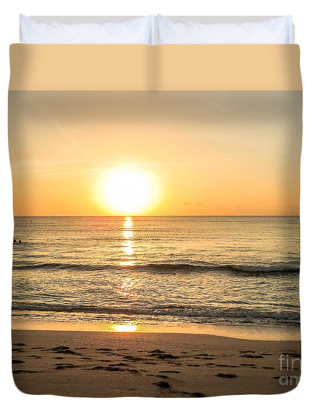 Romantic Duvet Cover featuring the photograph Romantic ocean swim at sunrise by Zina Stromberg